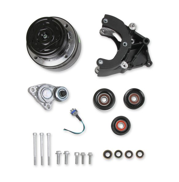 20-140BK - Holley 20-140BK LS A/C Accessory Drive Kit - Includes R4 A/C Compressor, Tensioner, & Pulleys- Black Finish Image