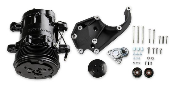 20-142BK - Holley 20-142BK LS A/C Accessory Drive Kit - Includes SD7 A/C Compressor, Tensioner, & Pulleys- Black Finish Image
