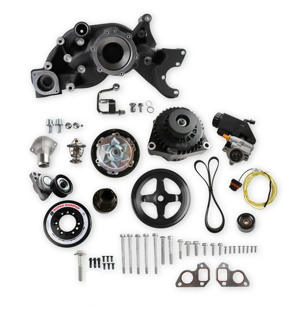 20-191BK - Holley 20-191BK Premium Mid-Mount LS7 Race Accessory System- Black Finish Image
