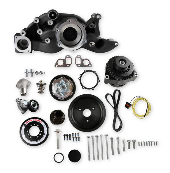 20-192BK - Holley 20-192BK Premium Mid-Mount LS7 Race Accessory System- Black Finish Image