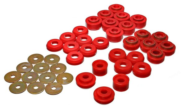 ENE34136R - ENERGY SUSPENSION 3.4136R POLYURETHANE BODY MOUNT BUSHINGS RED Image