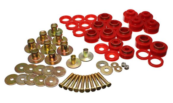 ENE34170R - ENERGY SUSPENSION 3.4170R POLYURETHANE BODY MOUNT BUSHINGS WITH HARDWARE RED Image
