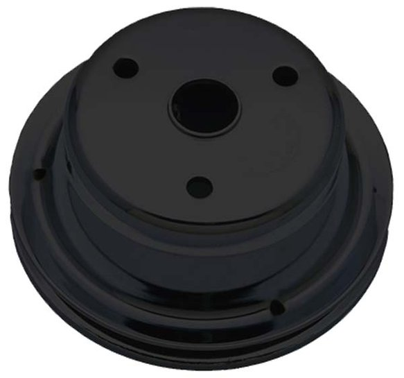 TSD8606 - Trans Dapt 8606 Black Satin Powder Coated SBC Long Water Pump Single Crankshaft Pulley Image